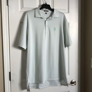 Peter Millar mint green striped polo size large